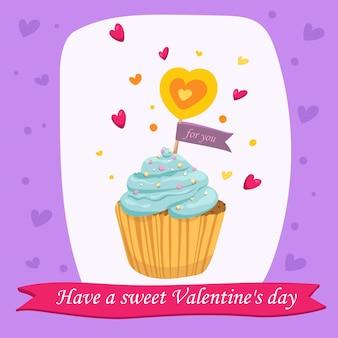 Valentinstag-karte mit süßem kleinem kuchen im vektor