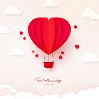Valentinstag-karte, origami-heißluftballon