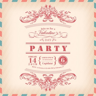 Valentinstag-karte party-einladung mit vintage-rahmen und luftpost grenze