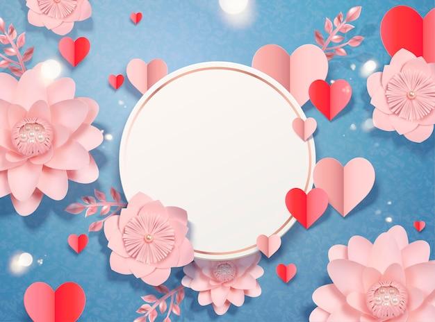Valentinstag-kartenschablone mit papierherz-förmigen dekorationen und blumen, 3d art
