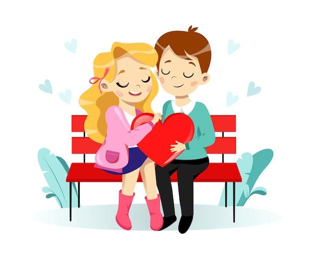 Valentinstag konzept. cartoon junges paar verliebt mann und frau halten ein großes herz, das auf der bank sitzt