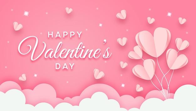 Valentinstag-konzept im papierstil