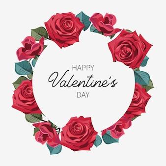 Valentinstag-kreis-blumenrahmen