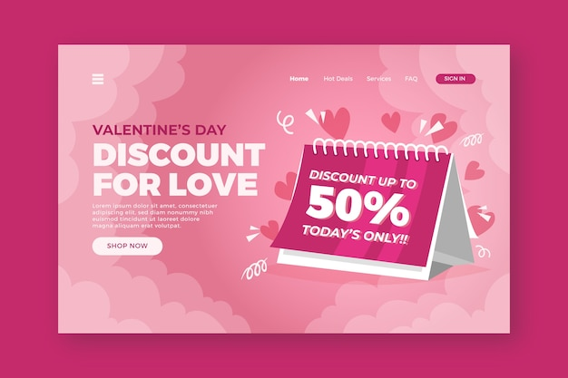 Valentinstag landingpage verkauf
