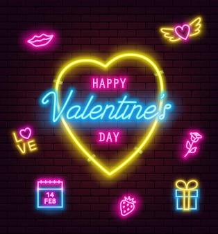 Valentinstag leuchtreklame auf backsteinmauer hintergrund. banner, flyer, poster, grußkarte mit leuchtenden valentinstag-leuchtreklamen. vektorillustration