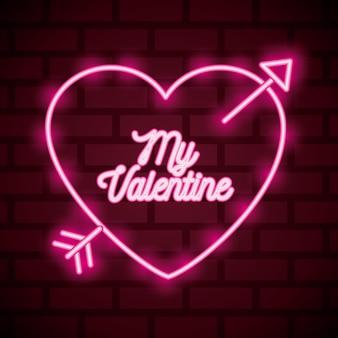 Valentinstag leuchtreklame mit herzen gekreuzt mit pfeil und meinem valentinstag text.