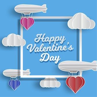 Valentinstag liebe abbildung. heißluftballon in einer herzform, die auf himmel fliegt