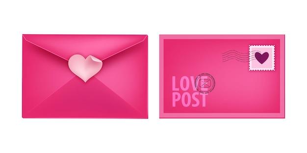 Valentinstag liebe geschlossen umschlag brief illustration, vorder- und rückseite. urlaub romantische mail clipart isoliert auf weiß. valentinstag rosa umschlag mit herzförmigem aufkleber, stempel