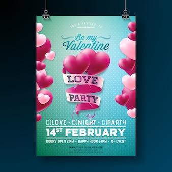 Valentinstag liebe party flyer