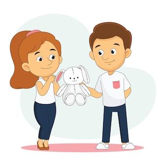 Valentinstag, liebender freund, der großes geschenk teddyhase präsentiert