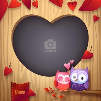 Valentinstag-liebes-vögel, die foto-rahmen streicheln