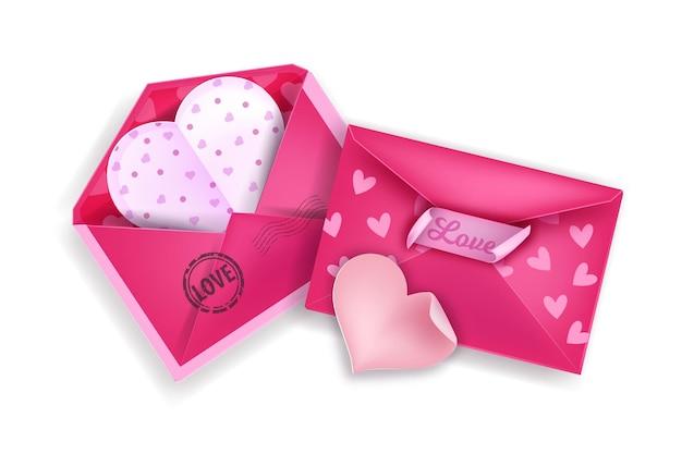 Valentinstag liebesbrief umschlag illustration mit zwei rosa herzförmigen buchstaben. urlaub romantische papierpost draufsicht lokalisiert auf weiß mit stempel, aufkleber. valentinstag grußbuchstaben objekt