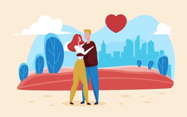 Valentinstag liebeskonzept mit glücklichen romantischen liebhabern