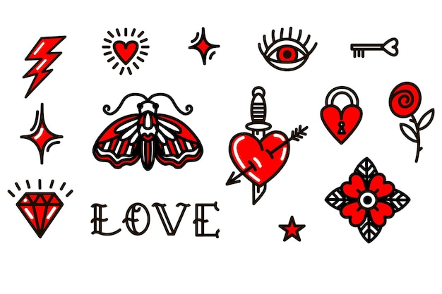 Valentinstag liebessymbole im old-school-stil. vektor-illustration