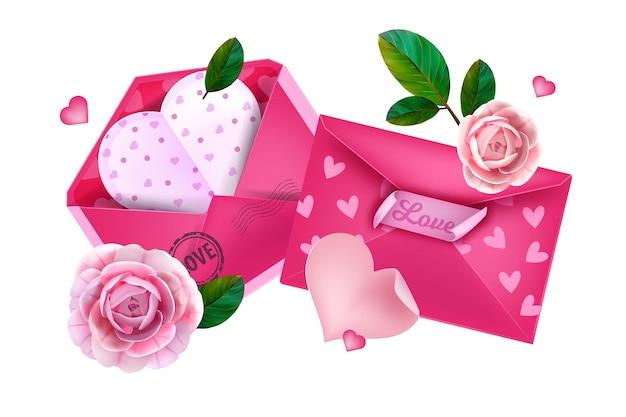 Valentinstag liebesumschläge legen illustration.