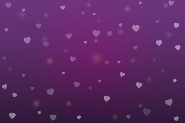 Valentinstag lila hintergrund mit herzformen
