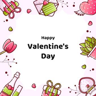 Valentinstag lineare stil banner