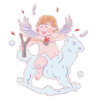 Valentinstag. lustiger amor auf einem wolkenpferd schießt mit einem slingshot.