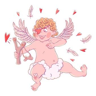 Valentinstag. lustiger amor mit fleck auf dem knie auf einer wolke schießt mit einer steinschleuder.