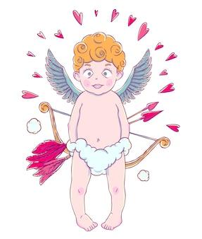 Valentinstag. lustiger amorjunge in den wolkenhosen mit pfeil und bogen in seinen händen. herzen herum.
