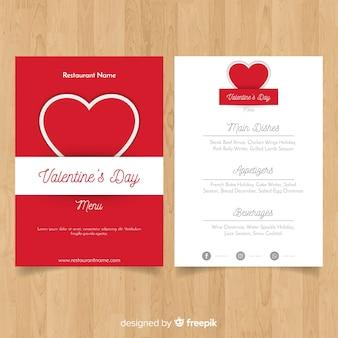 Valentinstag-menüvorlage