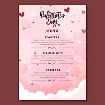 Valentinstag menüvorlage Kostenlosen Vektoren
