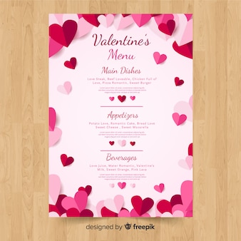 Valentinstag menüvorlage