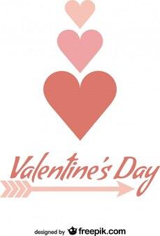 Valentinstag minimalistische karte design typografie pfeil