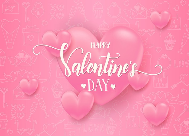 Valentinstag mit 3d rosa herzen mit handgezeichneten liebeslinienkunstsymbolen. fröhlichen valentinstag