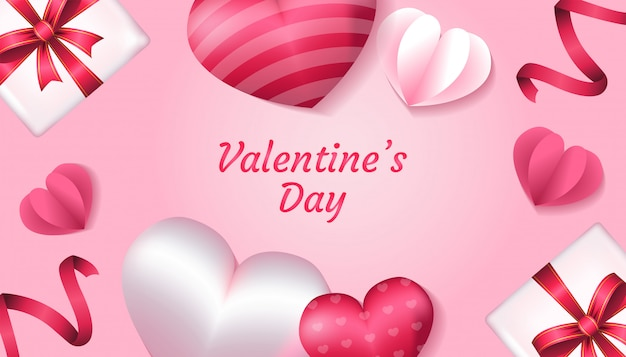Valentinstag mit form des herzens 3d, papierliebe, band und geschenkbox in der rosa und weißen farbe, anwendbar für einladung, gruß, feierkartenillustration