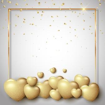 Valentinstag mit goldenen herzen und bordüre