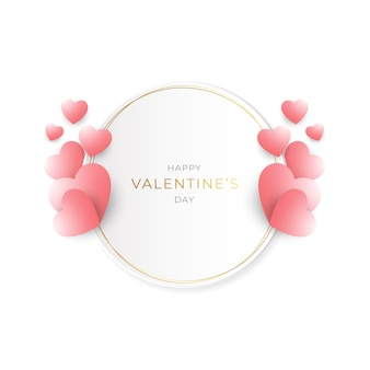 Valentinstag mit goldrahmen und weichen farben
