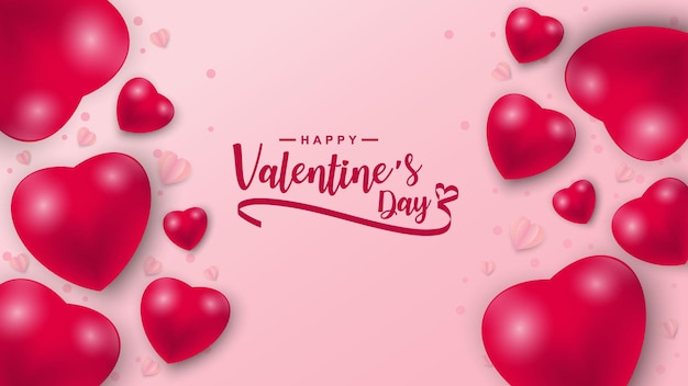 Valentinstag mit herzikonenmuster. valentinstagherzen auf rosa schwebend mit glücklichen valentinstagsgrüßen.