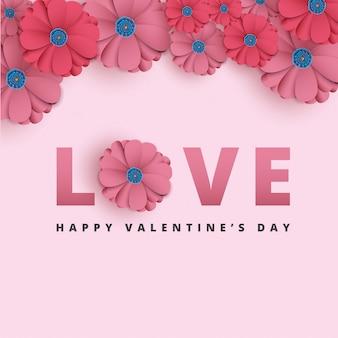 Valentinstag mit papierschnittblumen.