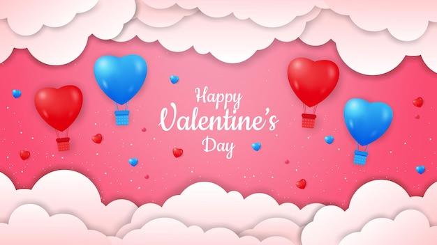 Valentinstag mit realistischer heißluftballonform