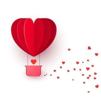 Valentinstag mit rotem herzformballon fliegen. ballon fliegt und hinterlässt eine spur mit herzdekorationen. illustration