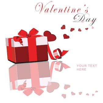 Valentinstag mit rotem kasten- und flossherzvektor
