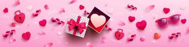 Valentinstag mit süßem geschenk, süßem herzen und reizenden einzelteilen