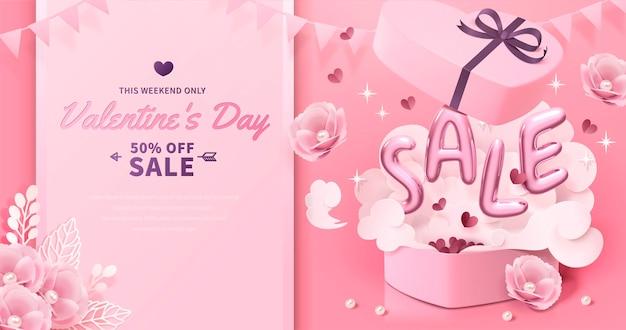 Valentinstag mit verkaufsballonwörtern, die aus der geschenkbox im 3d-stil springen, papierblumendekorationen