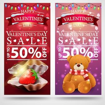 Valentinstag mit zwei rabattfahnen