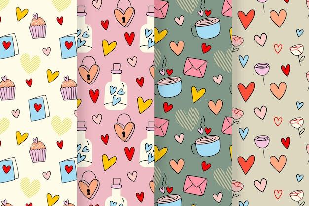 Valentinstag muster mit zeichnungen gesetzt