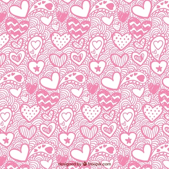 Valentinstag muster von hand gezeichneten herzen