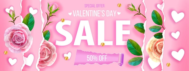 Valentinstag, muttertag lieben rosa hintergrund, karte mit herzen, rosen, blumen, blätter. blumenbanner des romantischen feiertagsverkaufs des konzepts, draufsicht des konzepts. sonderangebot zum valentinstag