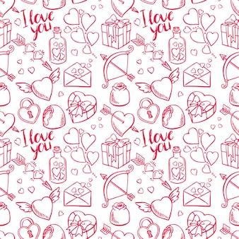 Valentinstag nahtlose skizze hintergrund. herz, geschenke, süßigkeiten. handgezeichnete illustration