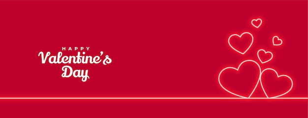 Valentinstag neon herzen romantische banner design