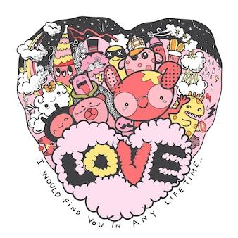 Valentinstag, niedliche handgezeichnete liebeskritzeleien, zeichentrickfiguren, die spaß im herzrahmen mit dem wort liebe haben, illustrationslinienwerkzeugzeichnung