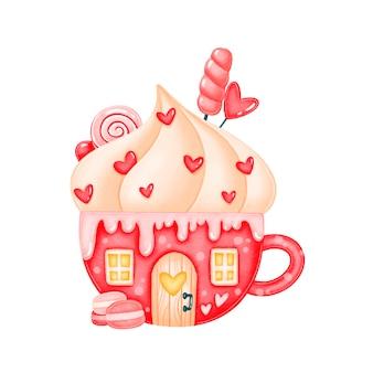 Valentinstag niedliche süßigkeiten tasse haus illustration isoliert