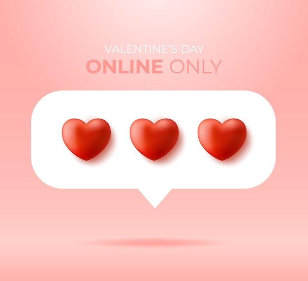 Valentinstag nur online. sprechblase mit roten herzen