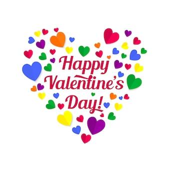 Valentinstag papierherzen und schriftzug