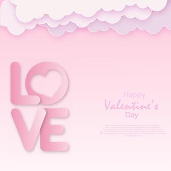 Valentinstag papierkunst mit wolken und herzen. vektor.